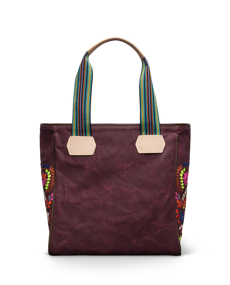 Sonoma Classic Tote in waxed canvas with embroidery by Consuela, back view