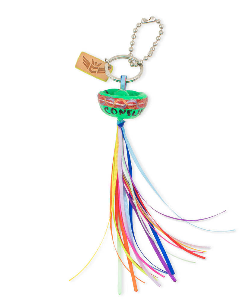 Sombrero Celebration Charm with colorful tassel, by Consuela