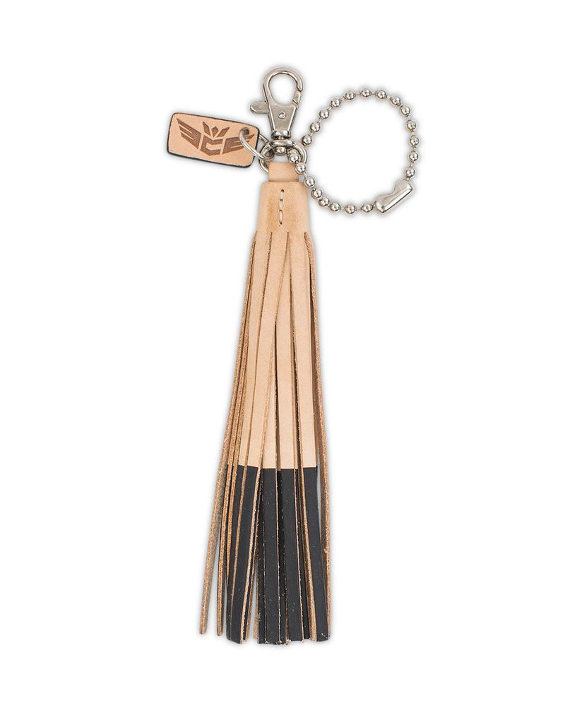 Chocolate Leather Fringe Keychain