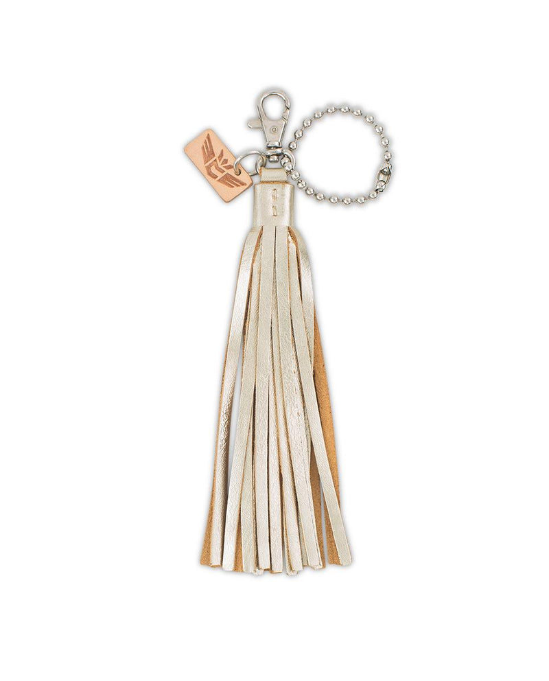 Josie Fringe Charm with gold leather tassel