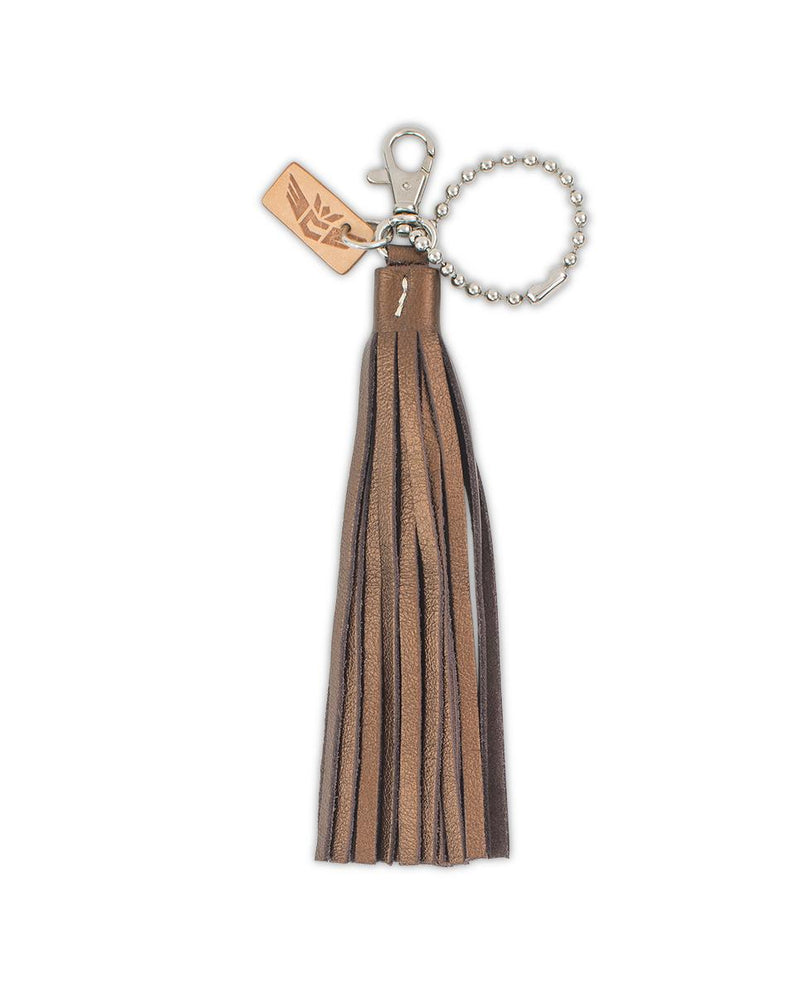 Kaycee Fringe Charm in bronze leather by Consuela