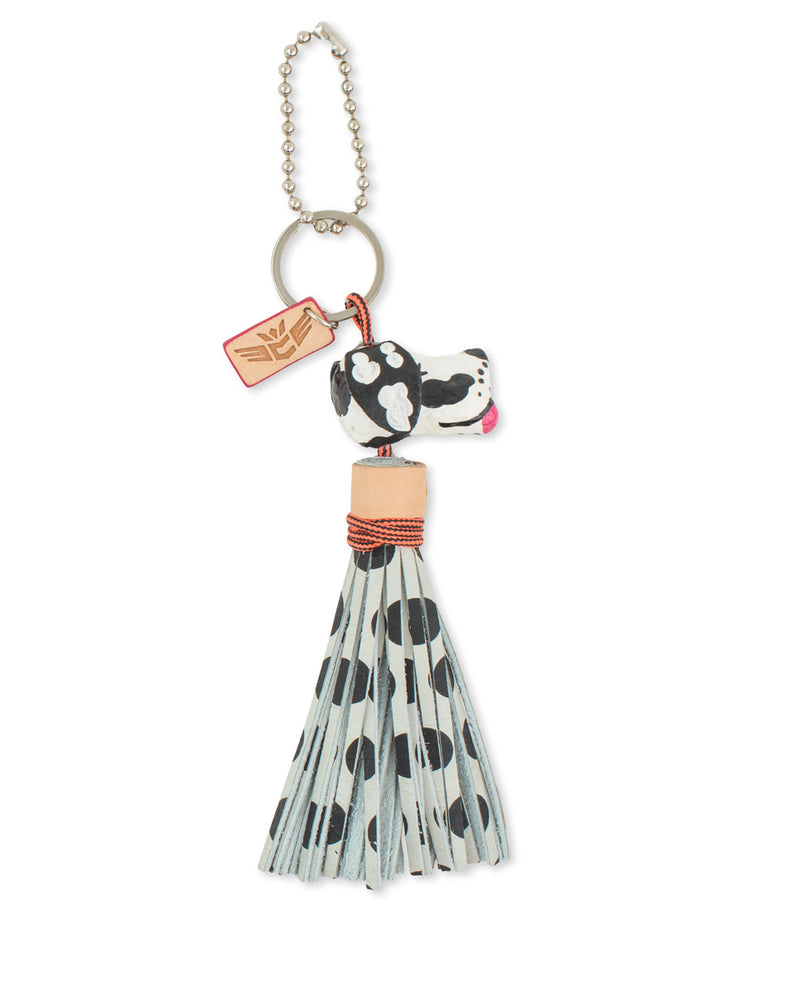 Polka Dot Dog Charm with leather tassel by Consuela, front view