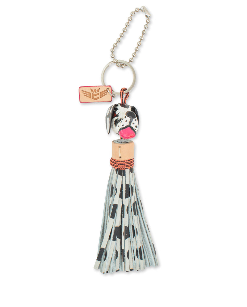 Polka Dot Dog Charm with leather tassel by Consuela, side view