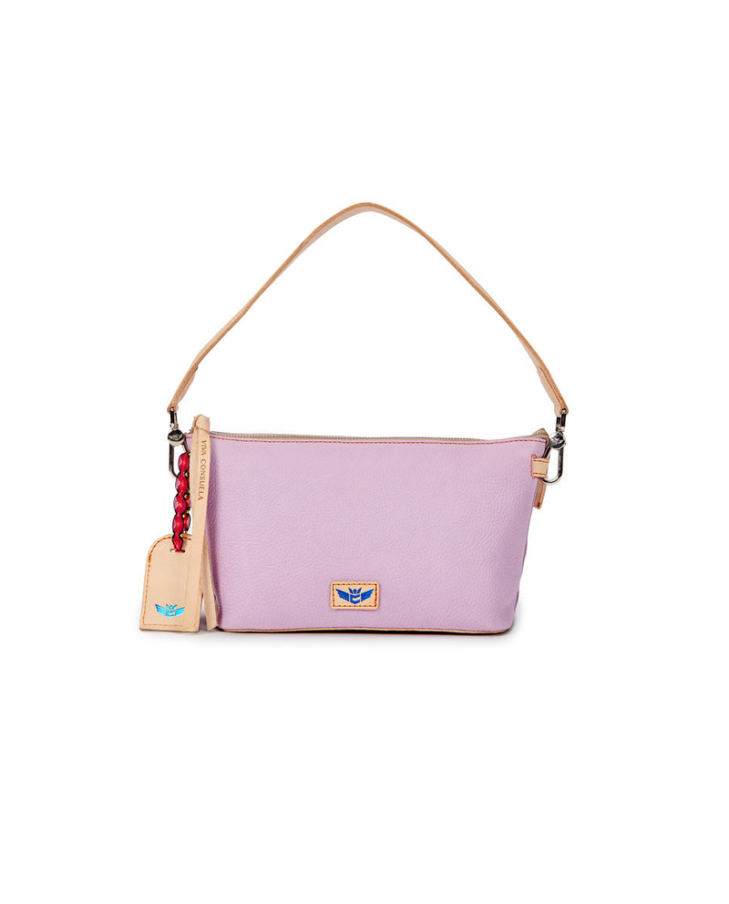 Lila Your Way Bag in lilac pebbled leather, front view