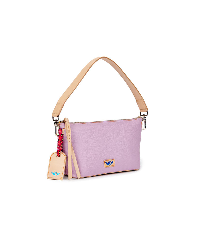 Lila Your Way Bag in lilac pebbled leather, side view
