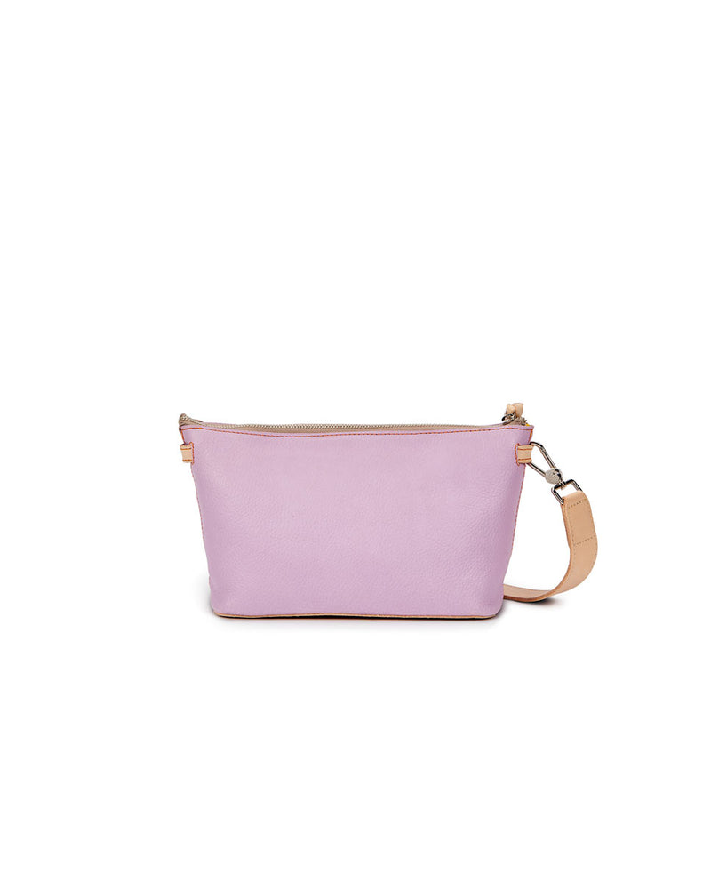 Lila Your Way Bag in lilac pebbled leather, back view