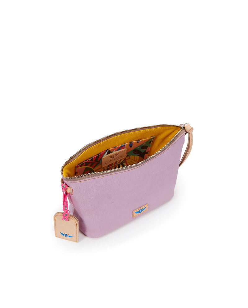 Lila Your Way Bag in lilac pebbled leather, interior view