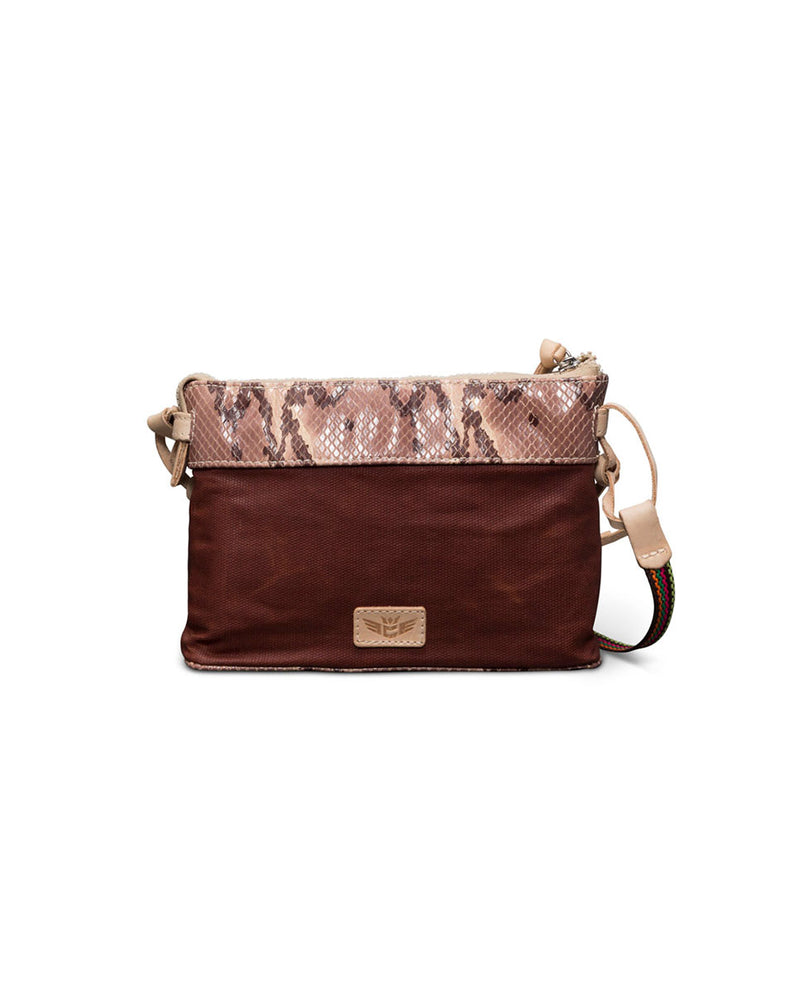 Martina Midtown Crossbody in waxed canvas with snakeprint by Consuela, front view