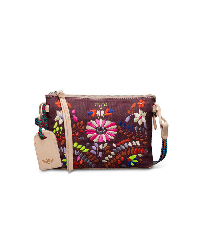 Sonoma Midtown Crossbody in waxed canvas with floral embroidery by Consuela, front view