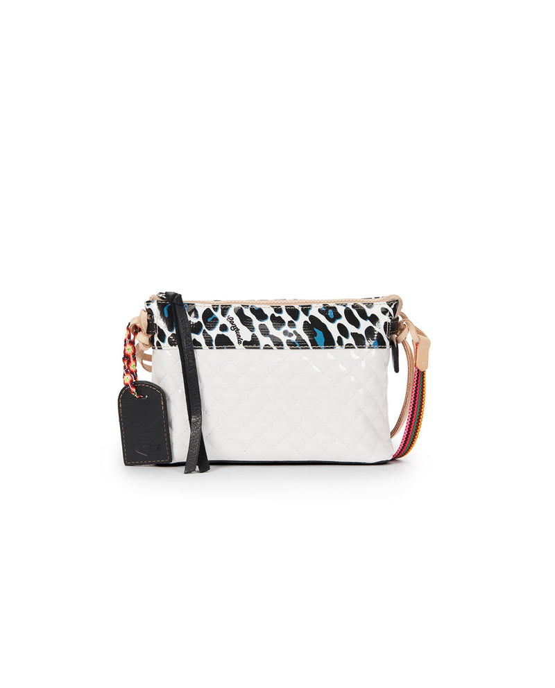 Tate Midtown Crossbody in quilted white and ConsuelaCloth by Consuela, front view