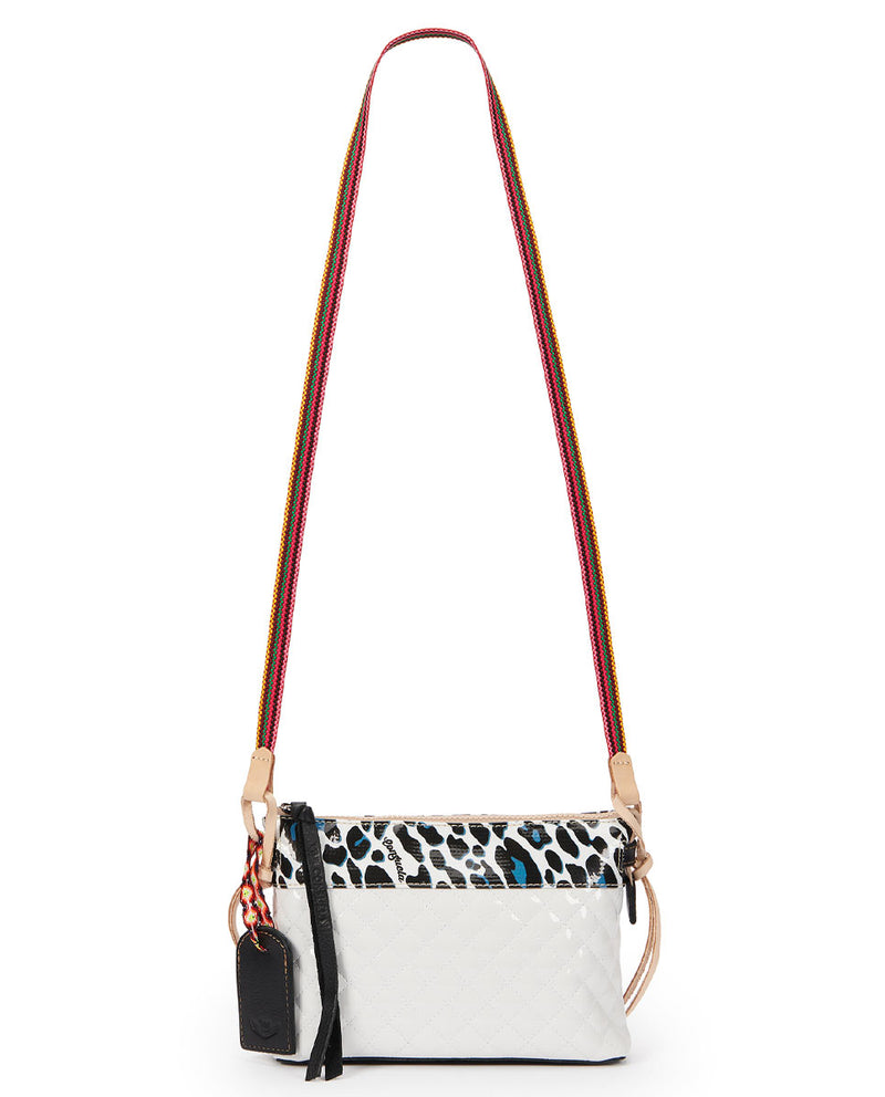 Tate Midtown Crossbody in quilted white and ConsuelaCloth by Consuela, strap view