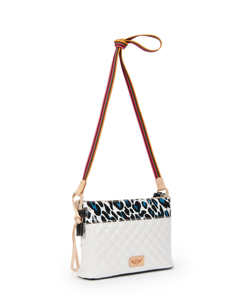 Tate Midtown Crossbody in quilted white and ConsuelaCloth by Consuela, side view