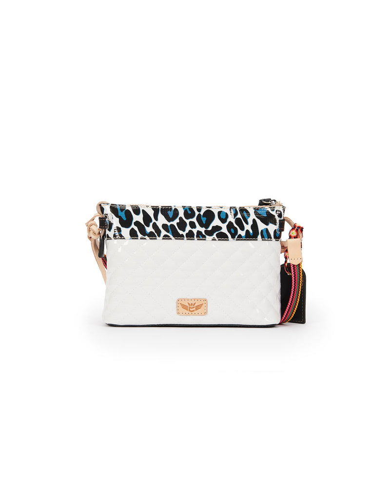 Tate Midtown Crossbody in quilted white and ConsuelaCloth by Consuela, back view