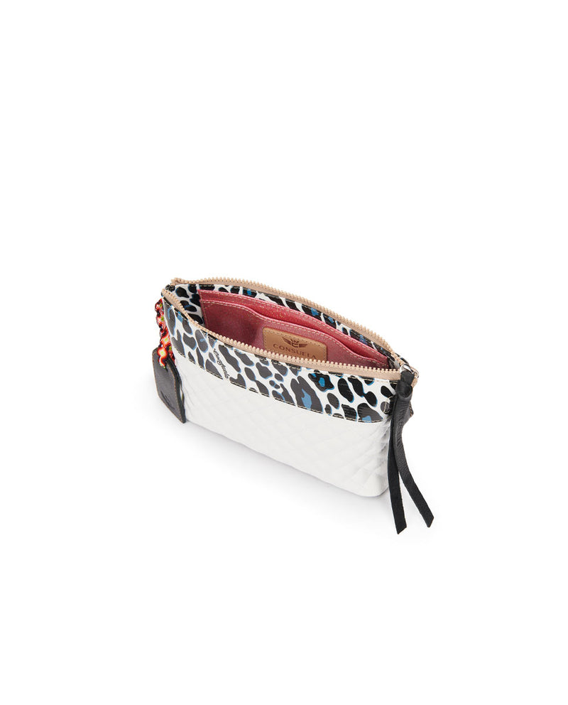 Tate Midtown Crossbody in quilted white and ConsuelaCloth by Consuela, interior view