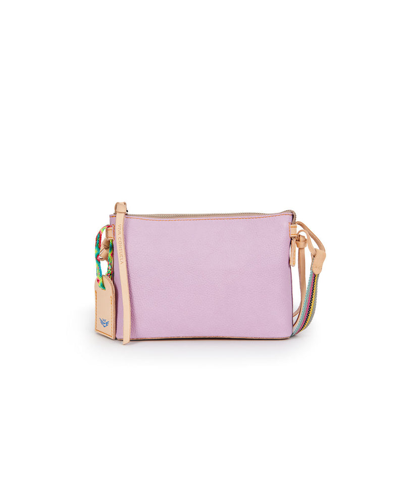 Lila Midtown Crossbody in lilac pebbled leather by Consulea, front view
