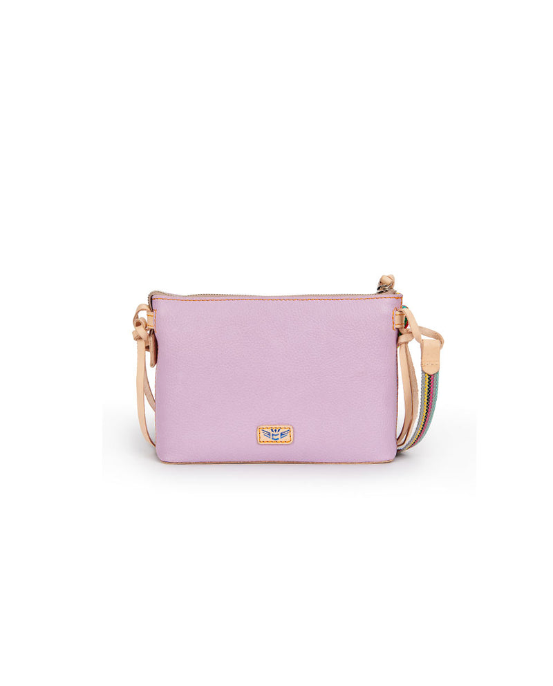 Lila Midtown Crossbody in lilac pebbled leather by Consulea, front view 2