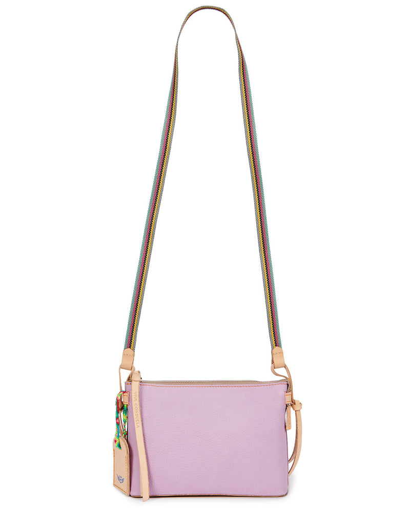Lila Midtown Crossbody in lilac pebbled leather by Consulea, strap view