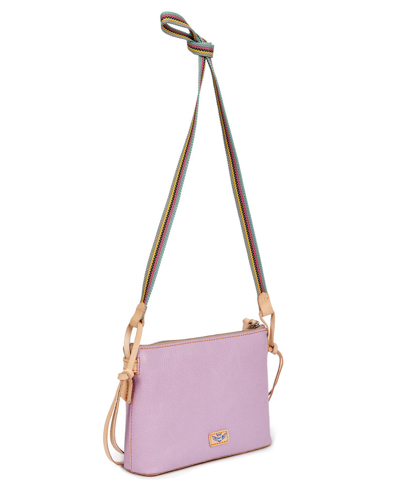 Lila Midtown Crossbody in lilac pebbled leather by Consulea, side view