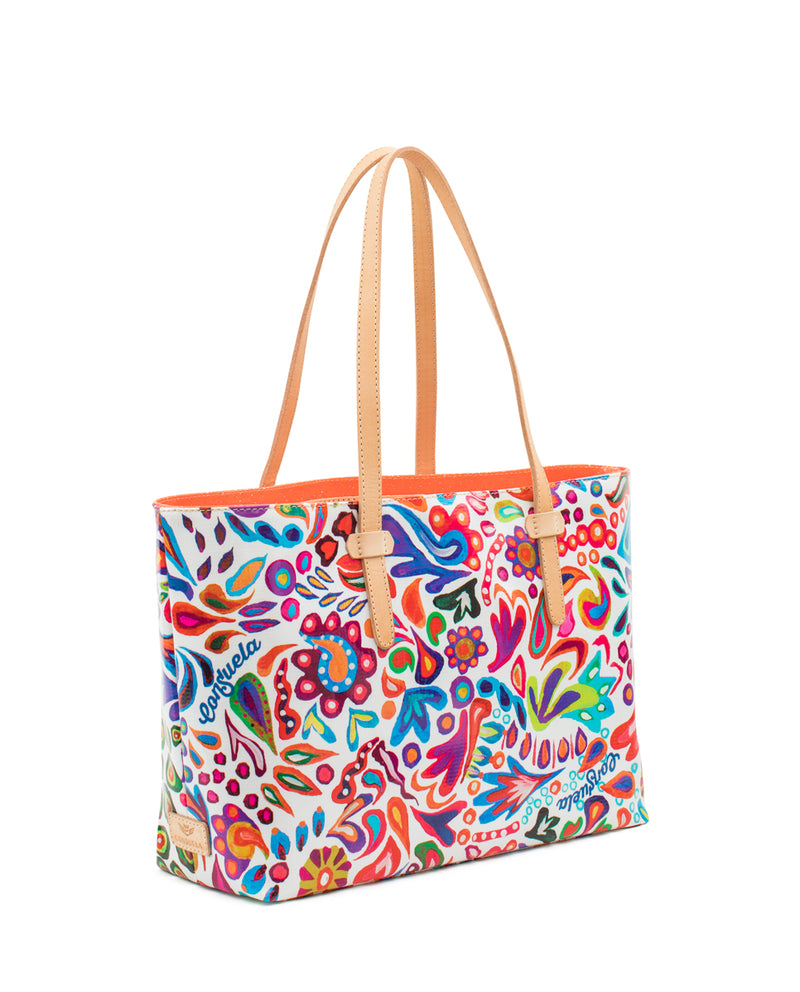 White Swirly East/West Tote