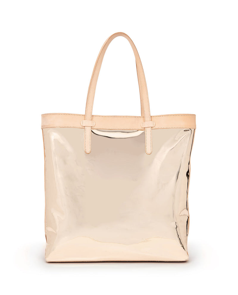 Goldie Slime Tote with gold metallic exterior by Consuela, front