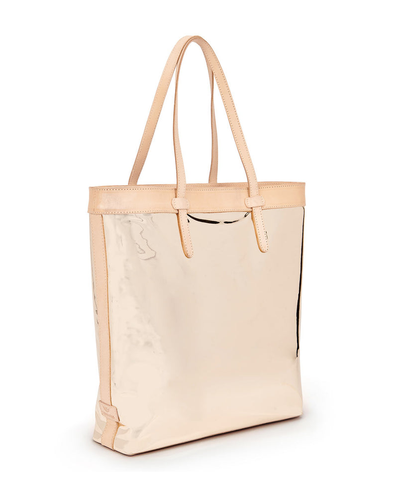 Goldie Slime Tote with gold metallic exterior by Consuela, side