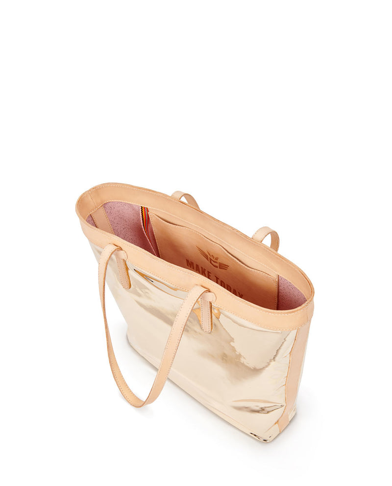 Goldie Slime Tote with gold metallic exterior by Consuela, interior slide pocket