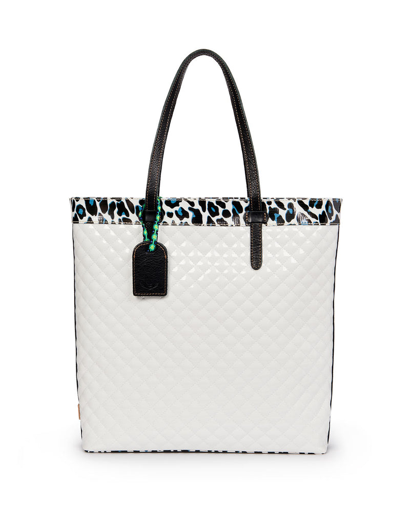 Tate Slim Tote with quilted white exterior and Lola ConsuelaCloth accent by Consuela, front