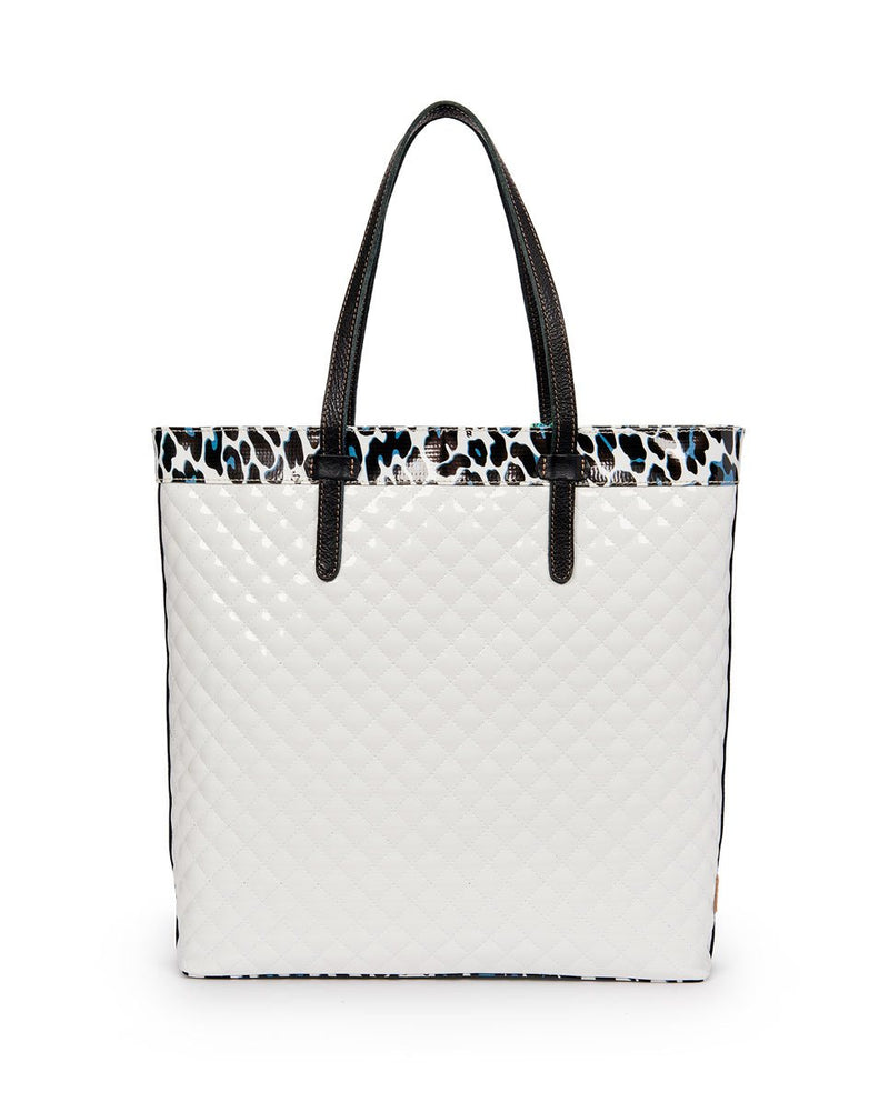 Tate Slim Tote with quilted white exterior and Lola ConsuelaCloth accent by Consuela, back view