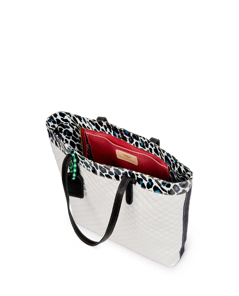 Tate Slim Tote with quilted white exterior and Lola ConsuelaCloth accent by Consuela, interior slide pocket