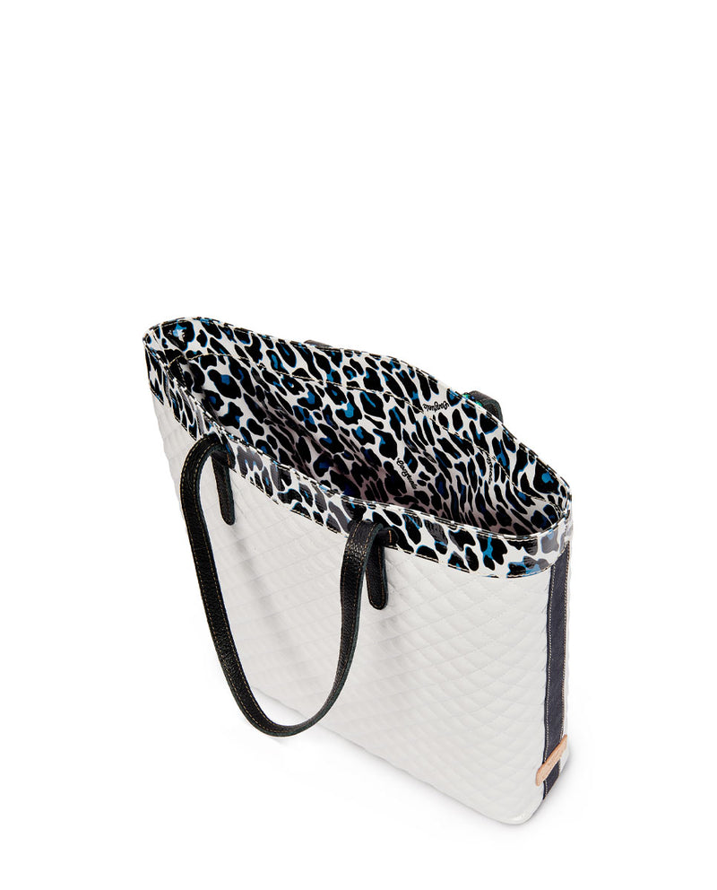 Tate Slim Tote with quilted white exterior and Lola ConsuelaCloth accent by Consuela, interior view