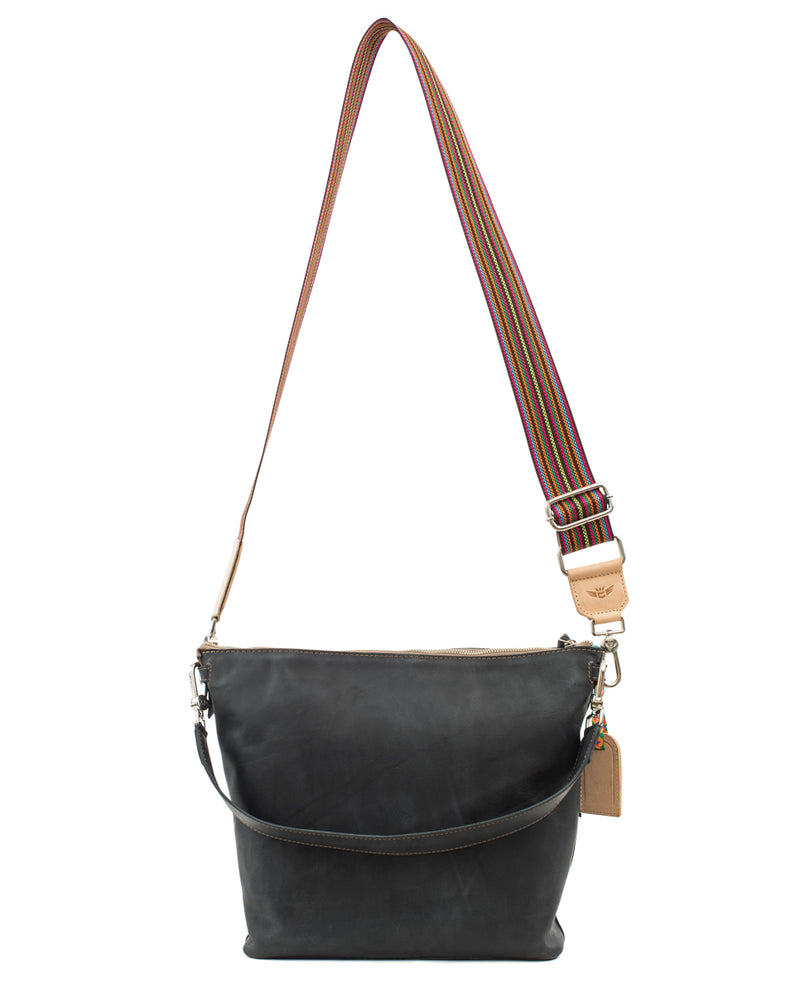 Evie Hobo in black leather by Consuela, back view