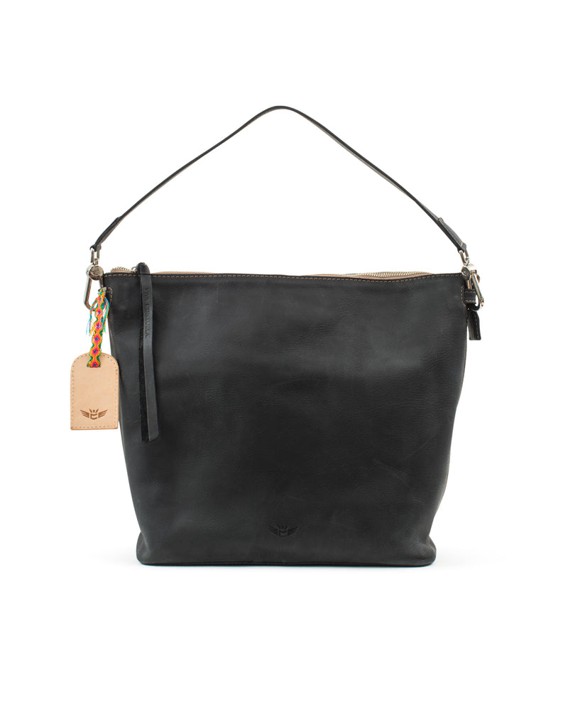 Evie Hobo in black leather by Consuela, front view