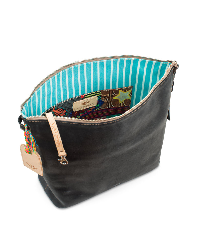 Evie Hobo in black leather by Consuela, interior view