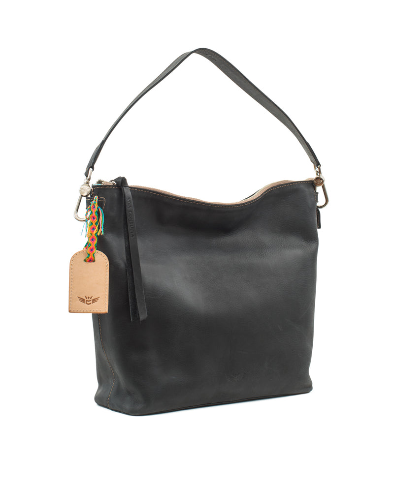 Evie Hobo in black leather by Consuela, side view