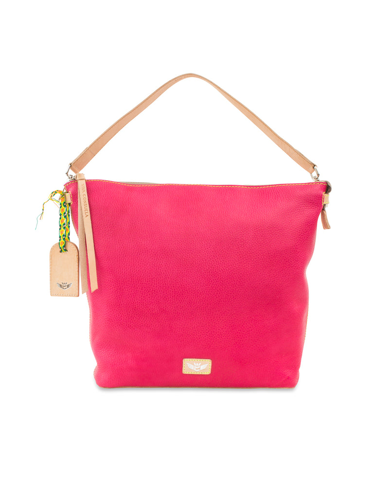 Rosa Hobo in pink pebbled leather by Consuela, front view