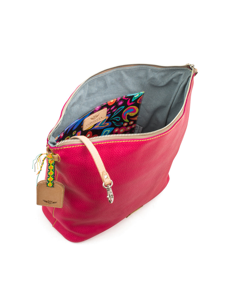 Rosa Hobo in pink pebbled leather by Consuela, interior view