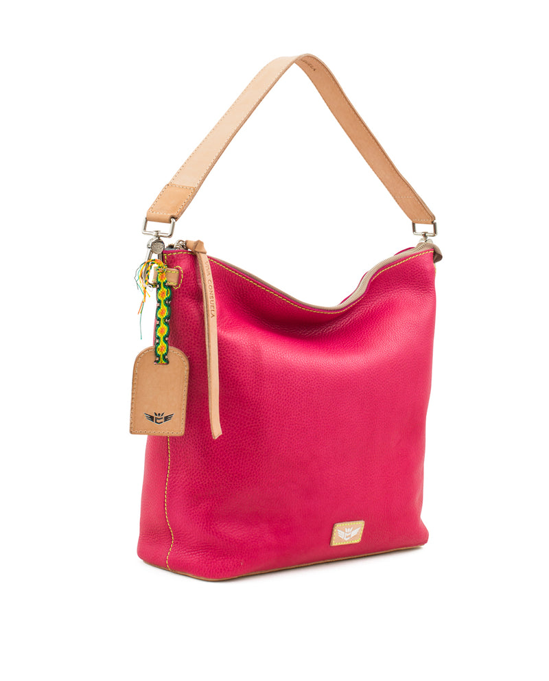 Rosa Hobo in pink pebbled leather by Consuela, side view