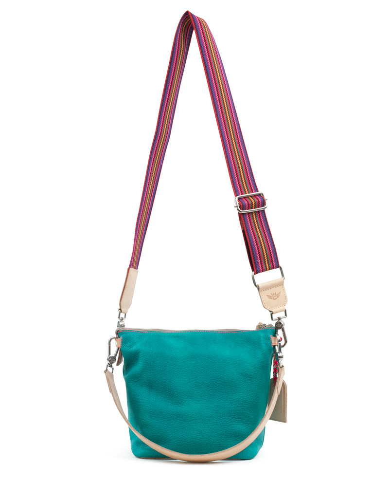 Guadalupe Wedge in turquoise leather by Consuela, back view