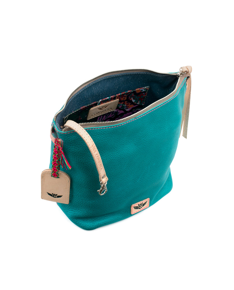 Guadalupe Wedge in turquoise leather by Consuela, interior view