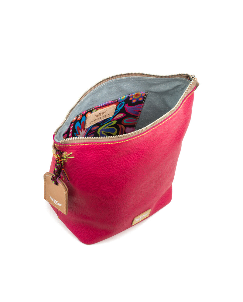 Rosa Wedge in pink pebbled leather by Consuela, interior view