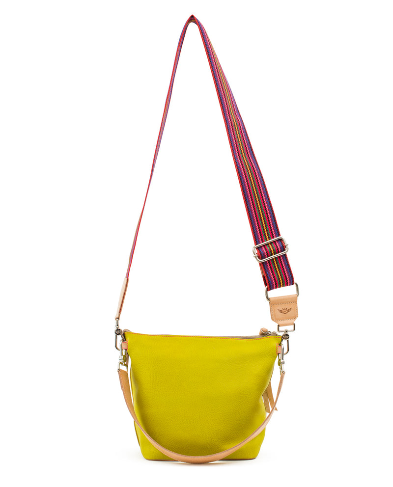 Margarita Wedge in yellow pebbled leather by Consuela, back view