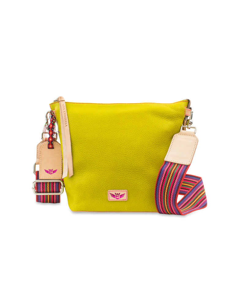 Margarita Wedge in yellow pebbled leather by Consuela, front view