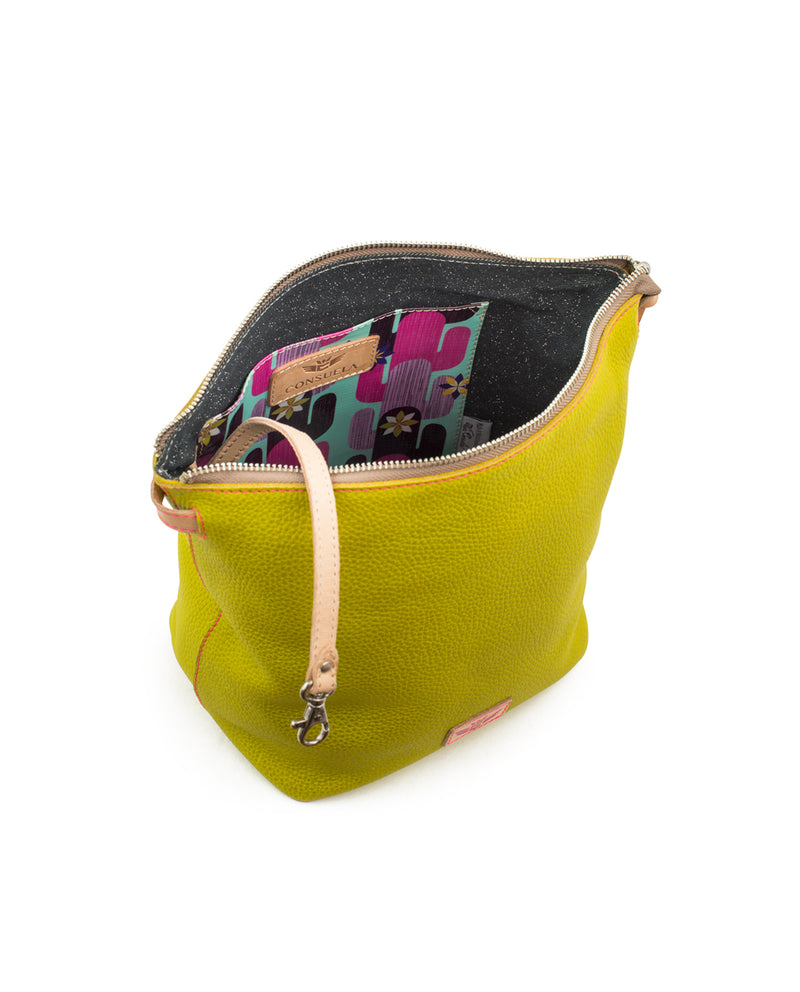 Margarita Wedge in yellow pebbled leather by Consuela, interior view
