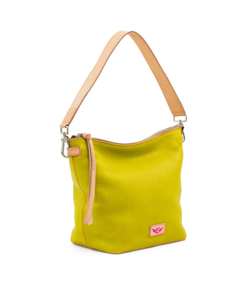Margarita Wedge in yellow pebbled leather by Consuela, side view