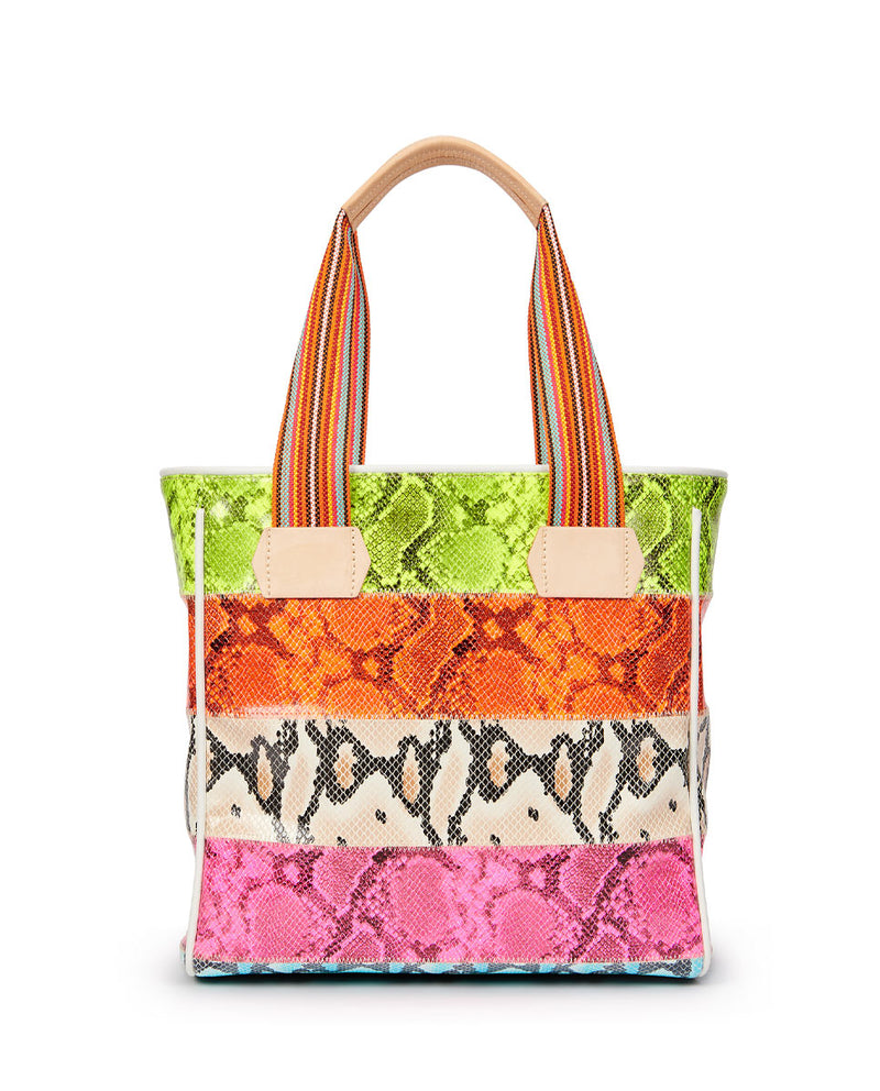 Roxie Classic Tote in snake print by Consuela, front