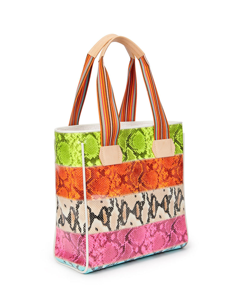 Roxie Classic Tote in snake print by Consuela, side view