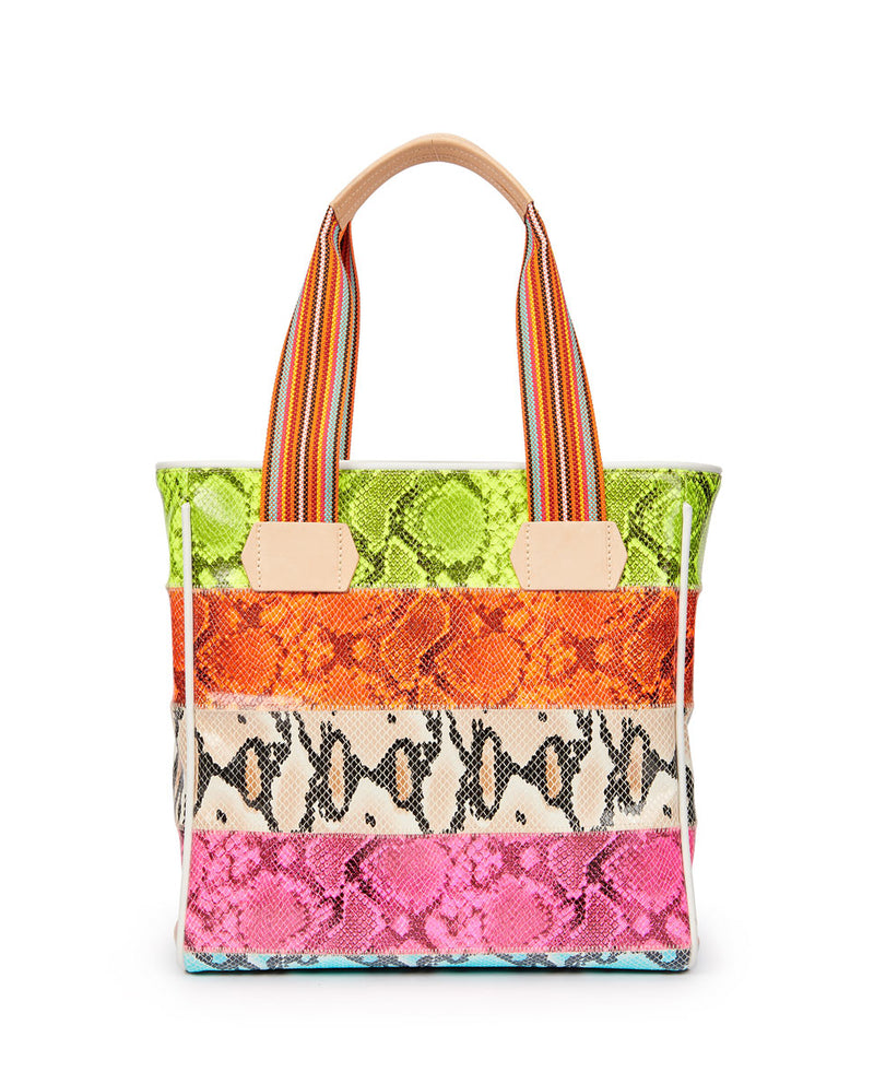 Roxie Classic Tote in snake print by Consuela, back