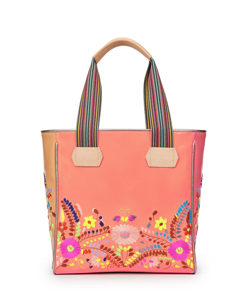Emmi Classic Tote with peach exterior and floral embroidery by Consuela, front