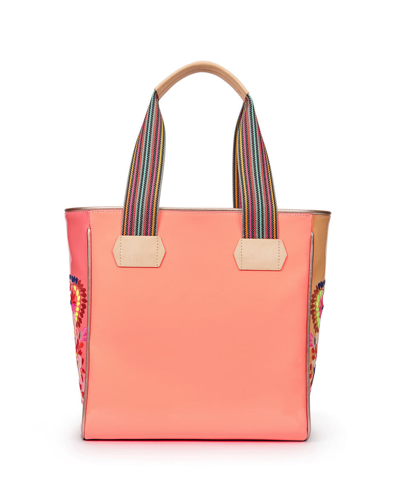 Emmi Classic Tote with peach exterior and floral embroidery by Consuela, back