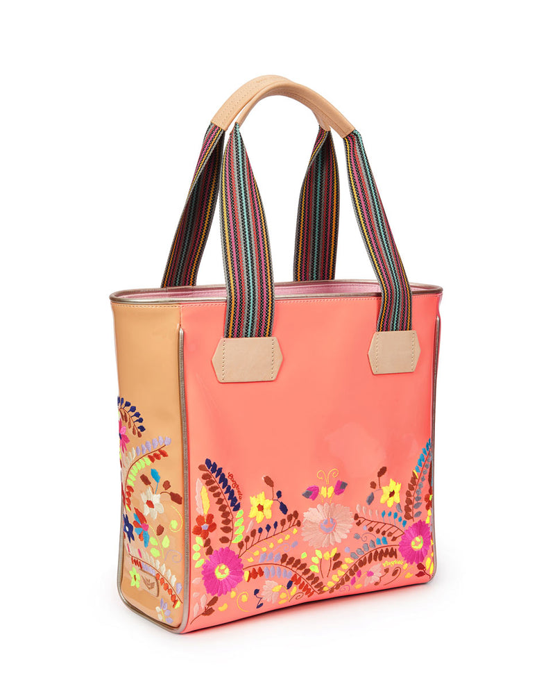 Emmi Classic Tote with peach exterior and floral embroidery by Consuela, side